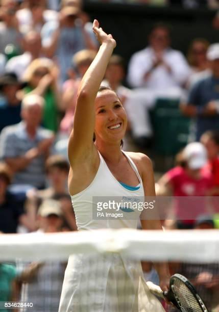 Serbia's Jelena Jankovic celebrates victory against Denmark's Caroline Wozniacki during the Wimbledon Championships 2008 at the All England Tennis...