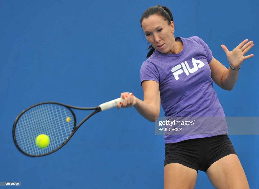 Serbia's Jelena Jankovic hits a return during a training session ahead of the Australian Open tennis tournament in Melbourne on January 13, 2013.