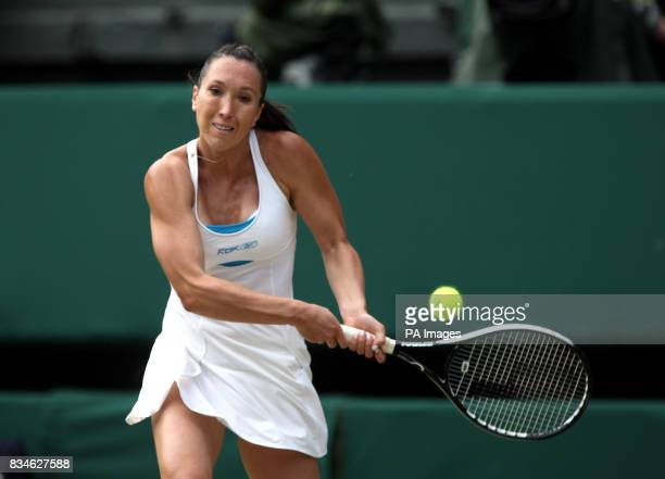 Serbia's Jelena Jankovic in action against Denmark's Caroline Wozniacki during the Wimbledon Championships 2008 at the All England Tennis Club in...