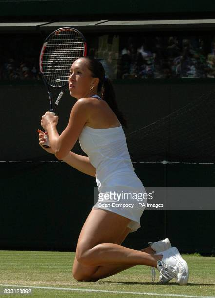 Serbia's Jelena Jankovic in action against Lucie Safarova of Czech Republic during The All England Lawn Tennis Championship at Wimbledon