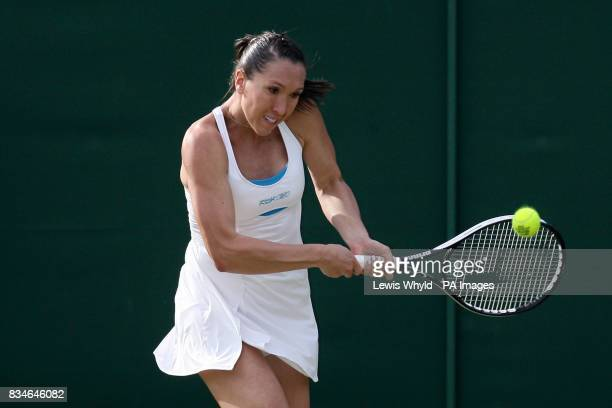 Serbia's Jelena Jankovic in action against Spain's Carla Suarez Navarro during the Wimbledon Championships 2008 at the All England Tennis Club in...