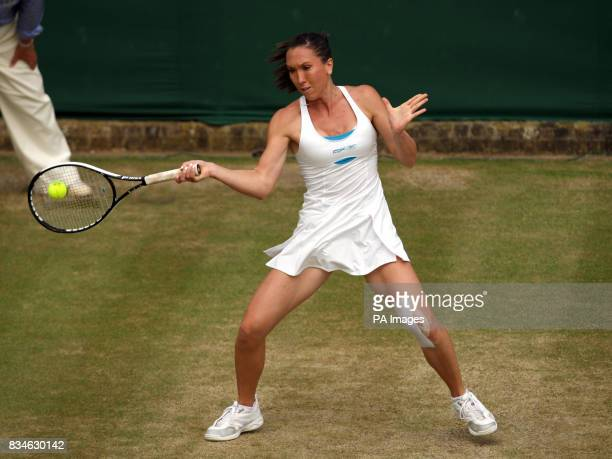 Serbia's Jelena Jankovic in action against Thailand's Tamarine Tanasugarn during the Wimbledon Championships 2008 at the All England Tennis Club in...