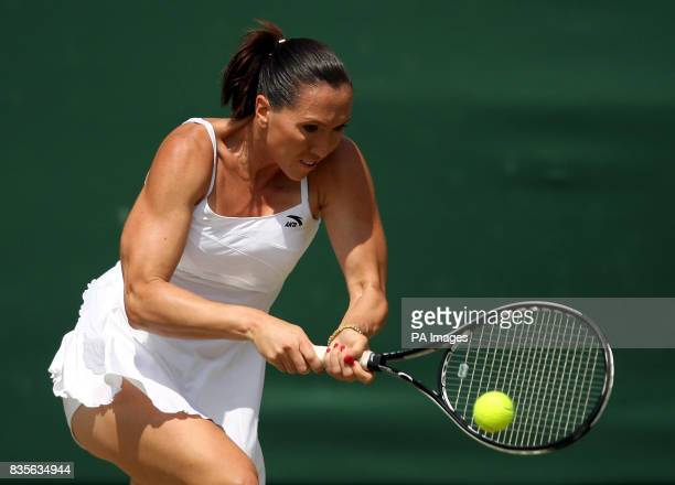 Serbia's Jelena Jankovic in action against USA's Melanie Oudin during the 2009 Wimbledon Championships at the All England Lawn Tennis and Croquet...