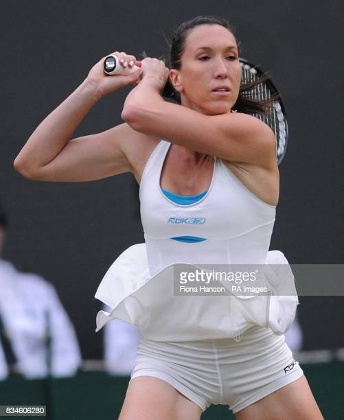 Serbia's Jelena Jankovic in action during the Wimbledon Championships 2008 at the All England Tennis Club in Wimbledon