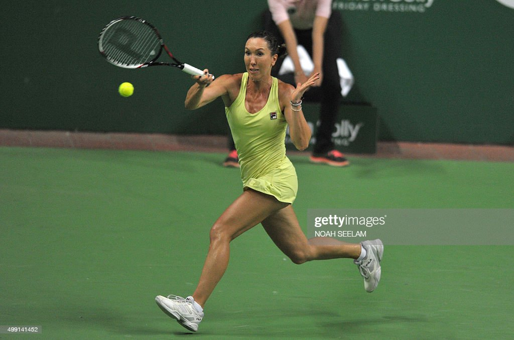 Serbia's Jelena Jankovic of Nagpur Orangers plays a shot against Switzerland's Martina Hingis of Hyderabad Aces during her women's singles match at...