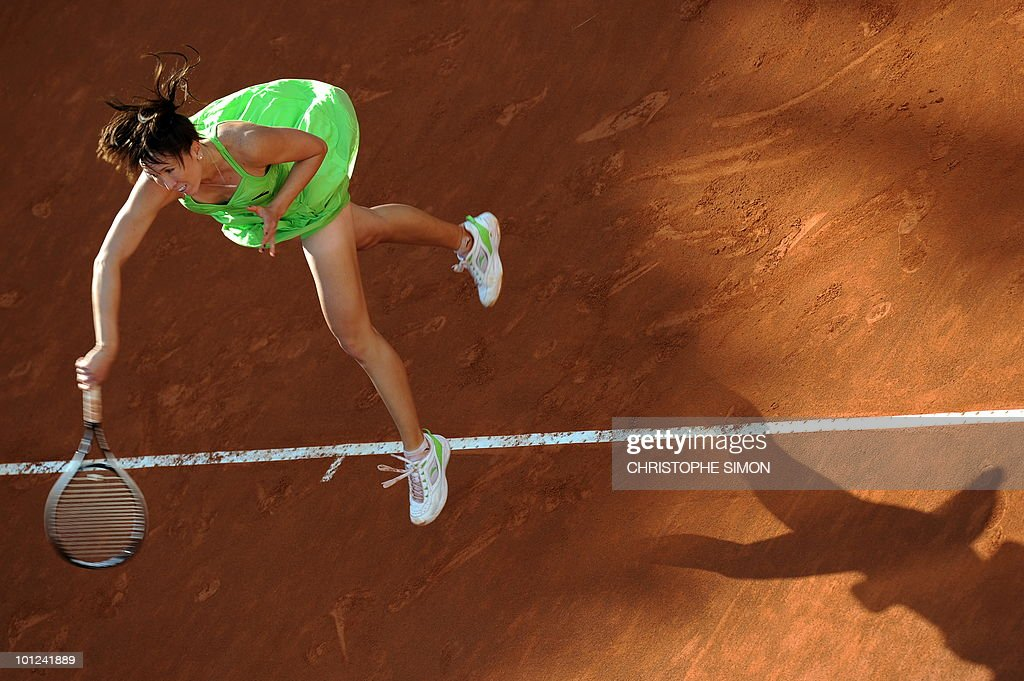 Serbia's Jelena Jankovic returns a ball to Spain's Maria Jose Martinez Sanchez during the final of the WTA Rome Open on May 8, 2010. Martinez Sanchez won 7-6, 7-5.