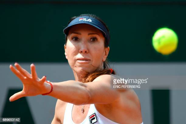Serbia's Jelena Jankovic returns the ball to The Netherlands' Richel Hogenkamp during their tennis match at the Roland Garros 2017 French Open on May...
