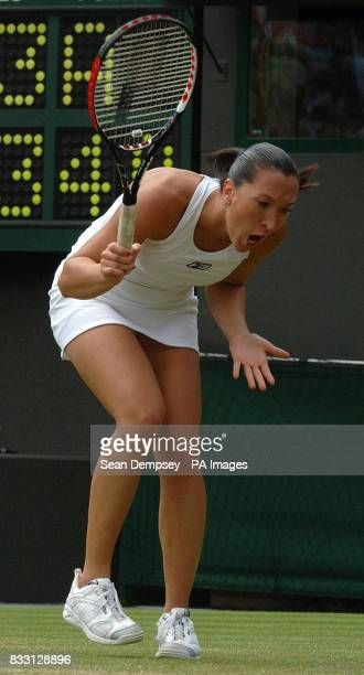Serbia's Jelena Jankovic shows her frustration during her match against Czech Republic's Lucie Safarova during The All England Lawn Tennis...