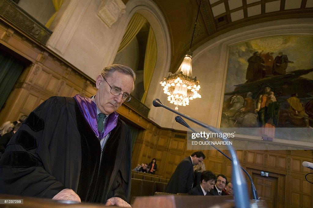 Serbia's lawyer Tibor Varady waits on May 26, 2008 in The Hague for the International Court of Justice hearing of a complaint filed in 1999 by Croatia against Serbia, alleging a program of 'ethnic cleansing' during the 1991-1995 war in Croatia was directly controlled from Belgrade. Serbia argued before the UN's highest court on May 26, 2008 that crimes committed in the early 1990s war in Croatia did not amount to an act of genocide as alleged a complaint filed by Zagreb. AFP PHOTO / ED OUDENAARDEN -Netherlands out - Belgium out-