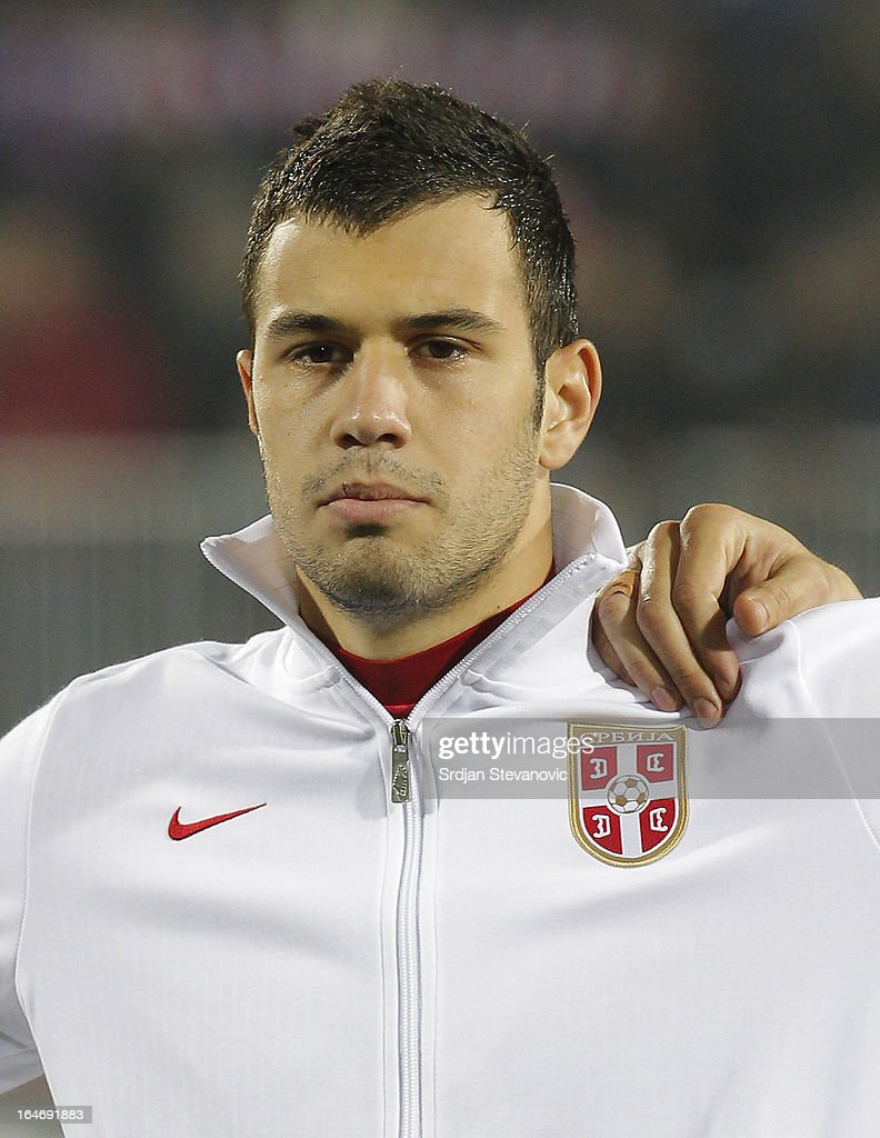 Serbia's Luka Milivojevic sings national anthem before the FIFA 2014 World Cup Qualifier match between Serbia and Scotland at Karadjordje Stadium on March 26, 2013 in Novi Sad, Serbia