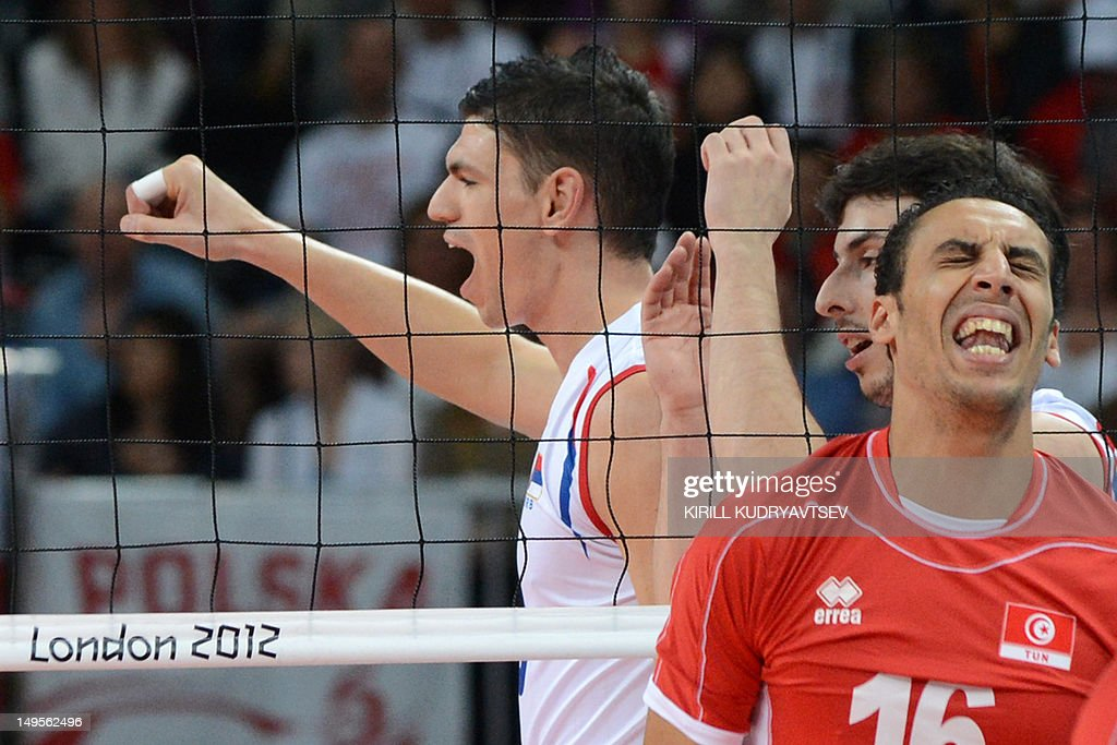 Serbia's Marko Podrascanin reacts during the men's preliminary pool B volleyball match between Serbia and Tunisia in the 2012 London Olympic Games in...