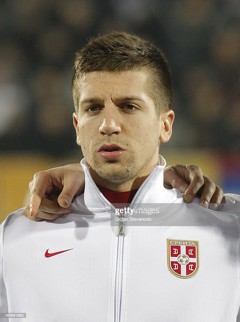 Serbia's Matija Nastasic sings national anthem before the FIFA 2014 World Cup Qualifier match between Serbia and Scotland at Karadjordje Stadium on March 26, 2013 in Novi Sad, Serbia