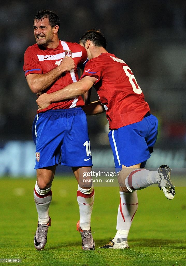Serbia's midfielder Dejan Stankovic (L) celebrates his goal against Cameroon during their friendly football match in Partizan stadium on June 5, 2010 in Belgrade ahead of the FIFA 2010 World Cup in South Africa.