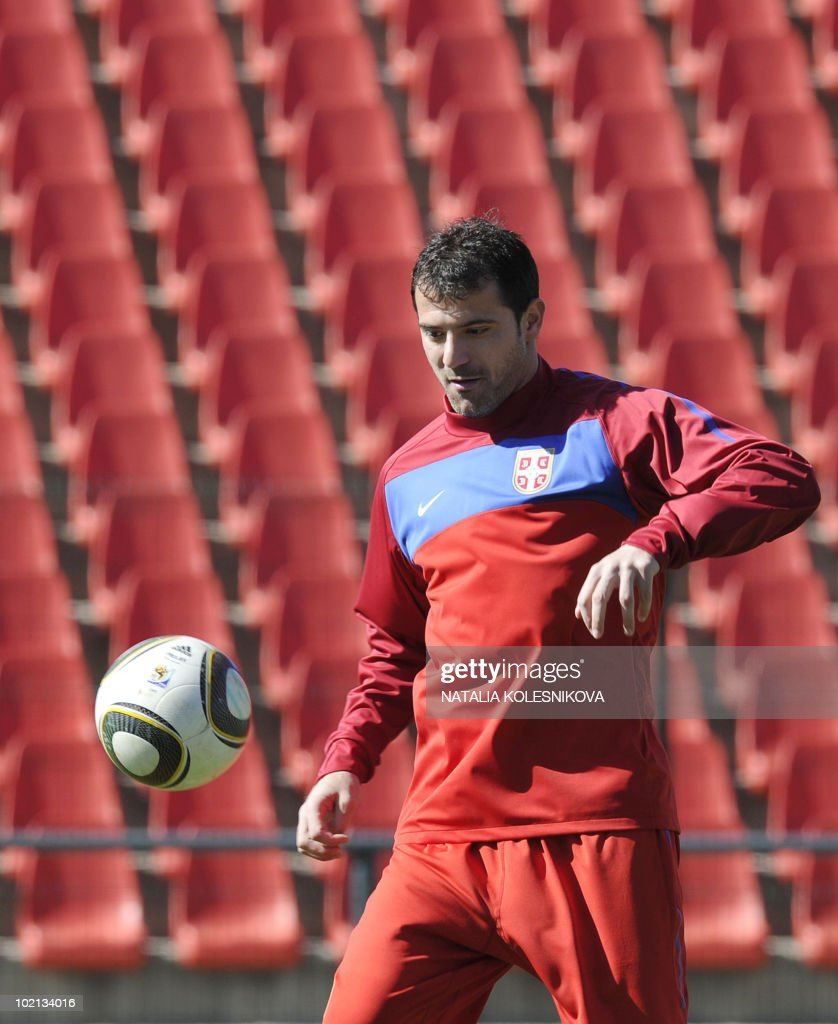 Serbia's midfielder Dejan Stankovic takes part in a training session at the Rand stadium in Johannesburg, on June 16, 2010 during the 2010 World Cup in South Africa.