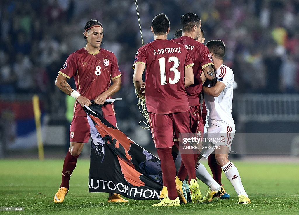 Serbia's midfielder Nemanja Gudelj holds a flag with Albanian national symbols pulled down by Serbia's defender Stefan Mitrovic from a remotely...