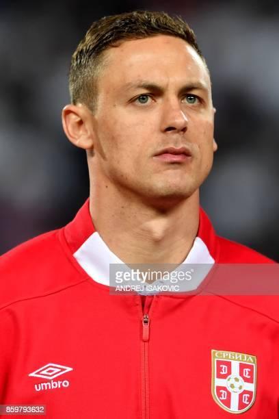 Serbia's midfielder Nemanja Matic looks on ahead of the FIFA World Cup 2018 football qualification match between Serbia and Georgia at Rajko Mitic...