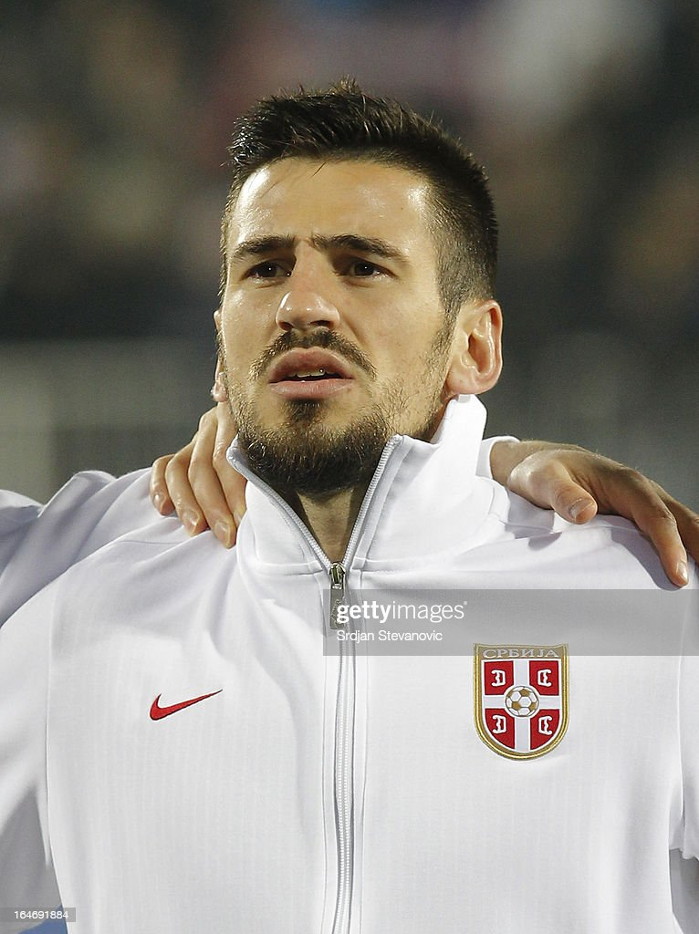 Serbia's Nenad Tomovic sings national anthem before the FIFA 2014 World Cup Qualifier match between Serbia and Scotland at Karadjordje Stadium on March 26, 2013 in Novi Sad, Serbia