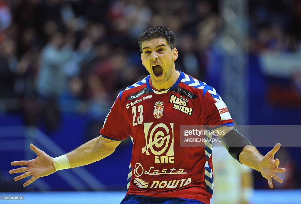 Serbia's Nenad Vuckovic reacts after scoring against Poland during the 10th EHF 2012 European Men's Handball Championship match on January 15, 2012, at the Pionir Arena in Belgrade. Belgrade hosts the preliminary round Group A matches including Poland, Denmark, Serbia and Slovakia.