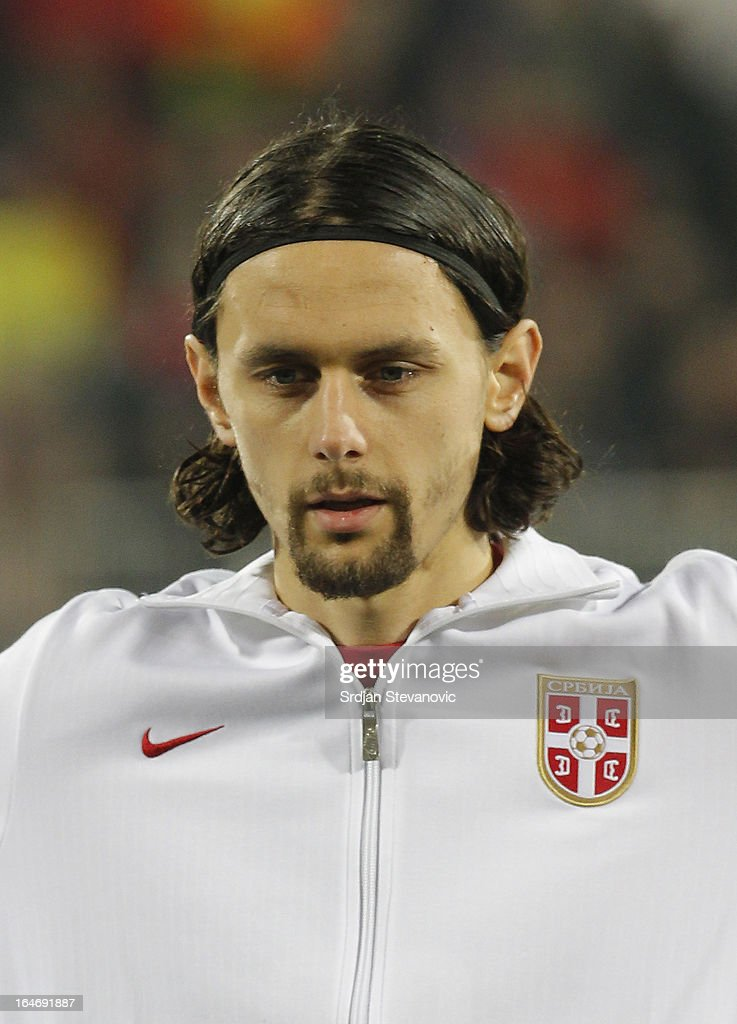 Serbia's Neven SUbotic sings national anthem before the FIFA 2014 World Cup Qualifier match between Serbia and Scotland at Karadjordje Stadium on March 26, 2013 in Novi Sad, Serbia