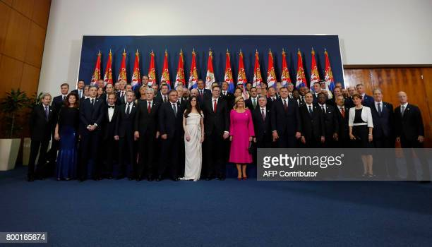 Serbia's new president Aleksandar Vucic and other leaders pose for a group photo during the formal swearingin ceremony in Belgrade Serbia on June 23...
