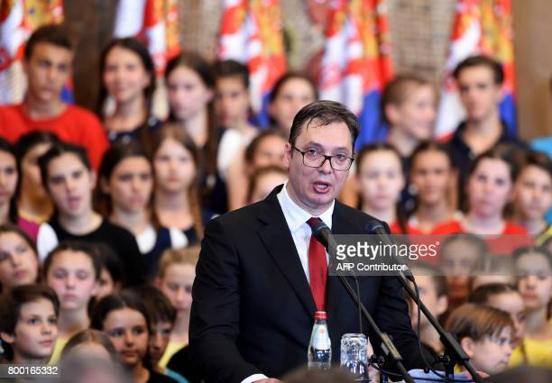 Serbia's new President Aleksandar Vucic speaks during the formal swearingin ceremony in Belgrade Serbia on June 23 2017 Vucic who was sworn in as the...
