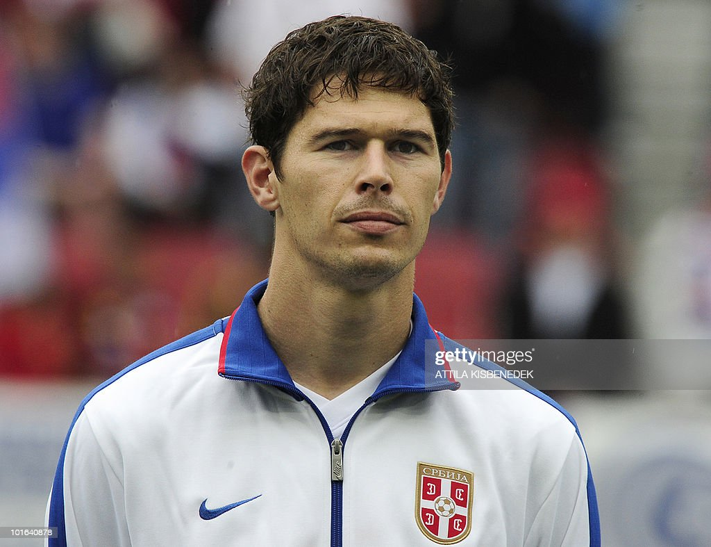 Serbia's Nikola Zigic is pictured prior to their friendly match against New Zealand in the Hypo Arena Wörthersee Stadium of Klagenfurt on May 29, 2010 prior to the FIFA World Cup 2010 hosted by South Africa between June 11th till July 11th. New Zealand won 1-0.