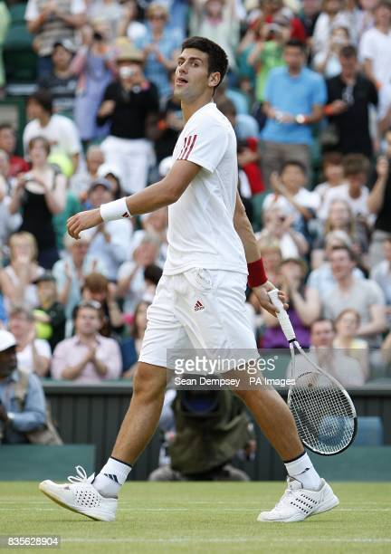 Serbia's Novak Djokovic after winning his match against USA's Mardy Fish during the Wimbledon Championships 2009 at the All England Tennis Club