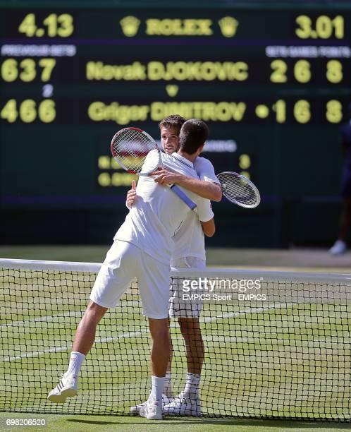 Serbia's Novak Djokovic and Bulgaria's Grigor Dimitrov embrace after their match