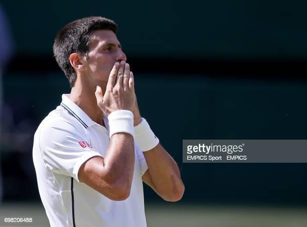 Serbia's Novak Djokovic celebrates beating Bulgaria's Grigor Dimitrov