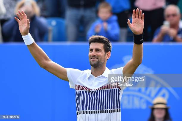 Serbia's Novak Djokovic celebrates victory over Russia's Daniil Medvedev after their men's semifinal tennis match at the ATP Aegon International...