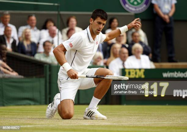 Serbia's Novak Djokovic challenges a call on the baseline during his match against Czech Republic's Radek Stepanek during day three of the Wimbledon...