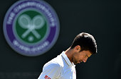 TOPSHOT Serbia's Novak Djokovic focuses while playing US player Sam Querrey during their men's singles third round match on the sixth day of the 2016...