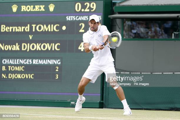 Serbia's Novak Djokovic in action against Australia's Bernard Tomic