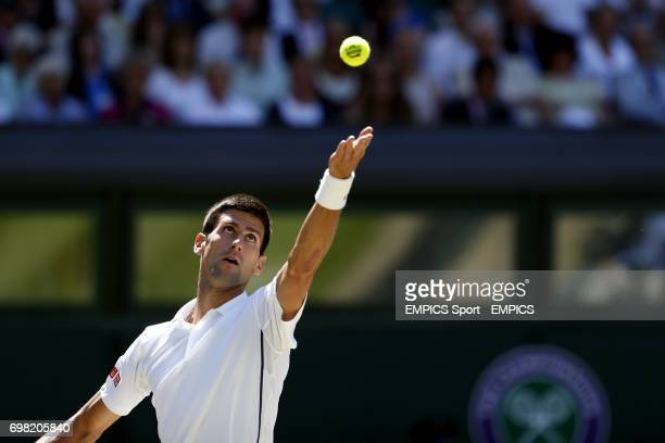 Serbia's Novak Djokovic in action against Bulgaria's Grigor Dimitrov