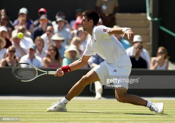 Serbia's Novak Djokovic in action against Germany's Simon Greul during the 2009 Wimbledon Championships at the All England Lawn Tennis and Croquet...