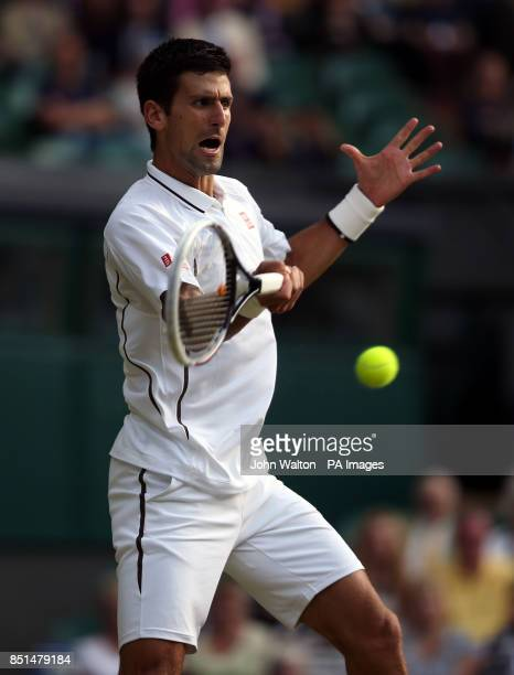 Serbia's Novak Djokovic in action against Germany's Tommy Haas during day seven of the Wimbledon Championships at The All England Lawn Tennis and...