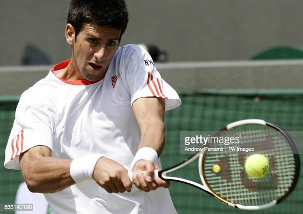 Serbia's Novak Djokovic in action against Spain's Rafael Nadal during the men's semifinal during The All England Lawn Tennis Championship at Wimbledon