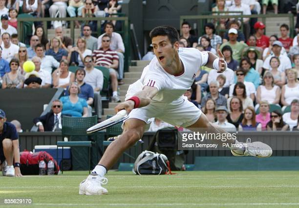 Serbia's Novak Djokovic in action against USA's Mardy Fish during the Wimbledon Championships 2009 at the All England Tennis Club