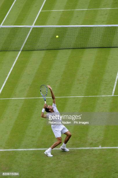 Serbia's Novak Djokovic in action during the 2009 Wimbledon Championships at the All England Lawn Tennis and Croquet Club Wimbledon London