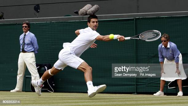 Serbia's Novak Djokovic in action in his quarterfinal match against Australia's Bernard Tomic