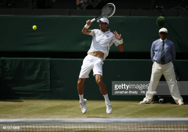 Serbia's Novak Djokovic in his Men's Final against Great Britain's Andy Murray during day thirteen of the Wimbledon Championships at The All England...