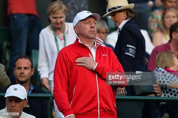 Serbia's Novak Djokovic's coach Boris Becker stands in the players box as he watches Djokovic play against South Africa's Kevin Anderson during their...