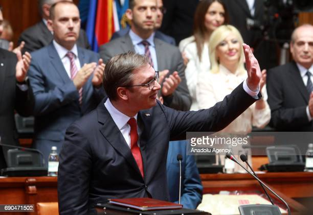Serbia's outgoing prime minister Aleksandar Vucic sworn in as president at the Assembly in Belgrade Serbia on May 31 2017