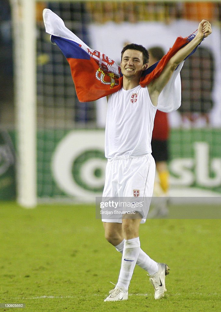 Serbia's player Antonio Rukavina celebrate victory over Belgium team during UEFA European Championship Under 21 semifinals match between Belgium U21...