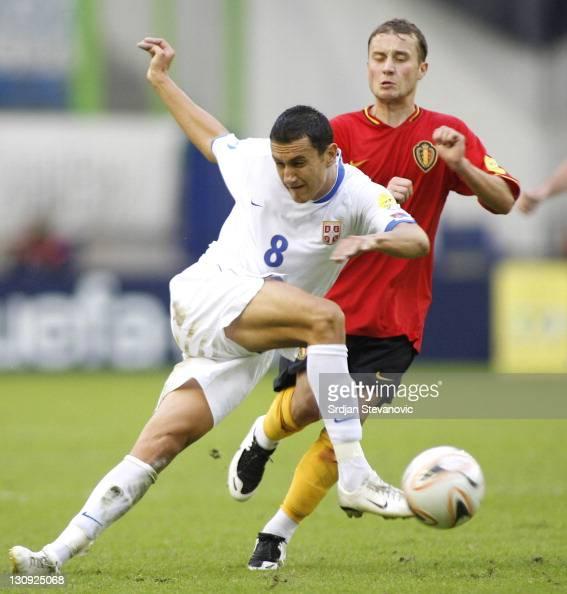 Serbia's player Bosko Jankovic left in action during UEFA European Championship Under 21 semifinals match between Belgium U21 and Serbia U21...