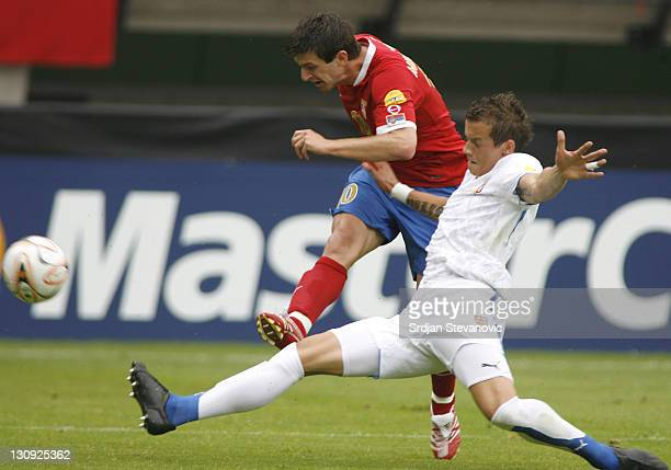 Serbia's player Dejan Milovanovic left shoots on the goal over Czech player Milan Kopic right during Serbia U21 vs Czech U21 UEFA European Under 21...