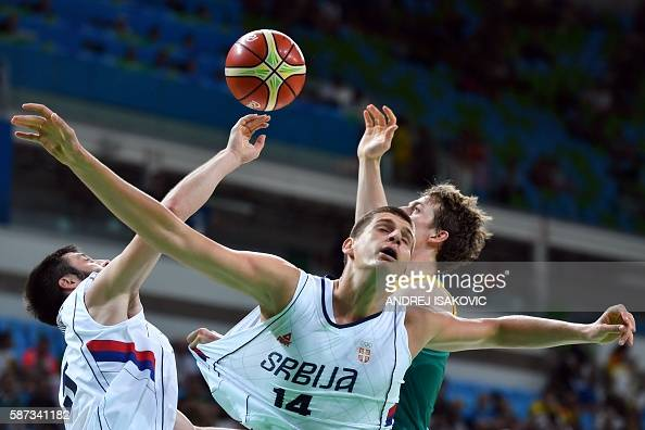 TOPSHOT Serbia's power forward Nikola Jokic reacts during a Men's round Group A basketball match between Serbia and Australia at the Carioca Arena 1...
