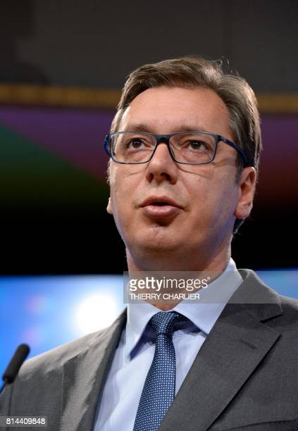 Serbia's President Aleksandar Vucic addresses media representative following his meeting at the European Union Council in Brussels on July 14 2017 /...