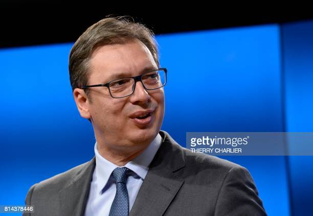 Serbia's President Aleksandar Vucic addresses media representatives following his meeting at the European Union Council building in Brussels on July...
