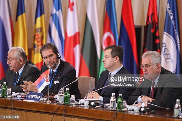 Serbia's President Tomislav Nikolic speaks as Serbian Foreign Minister Ivica Dacic listens during the 35th Organization of the Black Sea Economic...